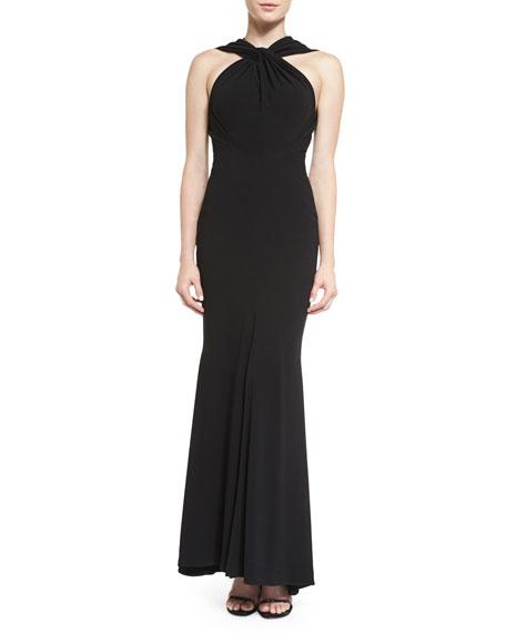 Talbot Runhof Golatta Twist-Neck Mermaid Gown, Black