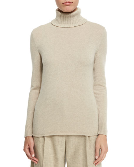 Lafayette 148 New York Turtleneck Sweater with Drop-Needle Hem