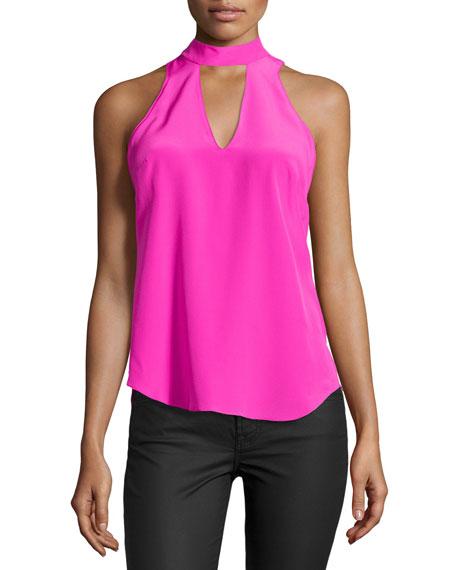 Amanda Uprichard Cassia Halter-Neck Tank Top, Hot Pink