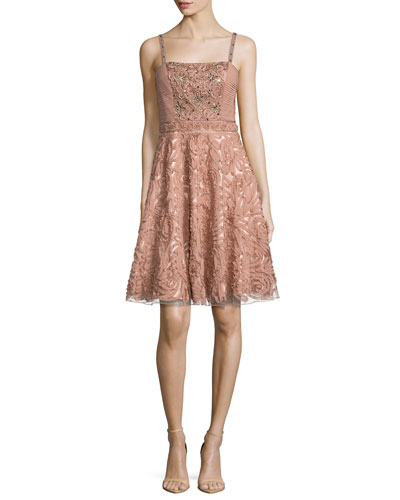Sleeveless Embroidered & Sequined Party Dress
