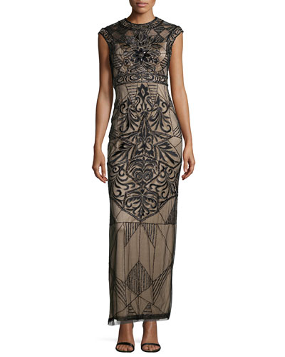 Cap-Sleeve Embroidered & Sequined Column Gown