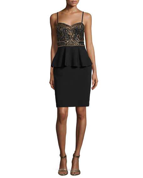 Sue Wong Sleeveless Beaded Peplum Dress