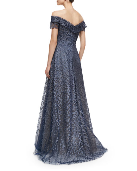 Off-the-Shoulder Lace Ball Gown