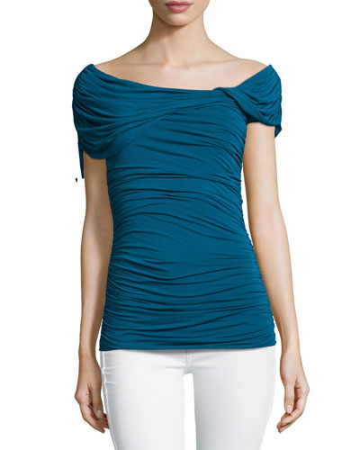 Raquel Ruched Off-the-Shoulder Top, Teal