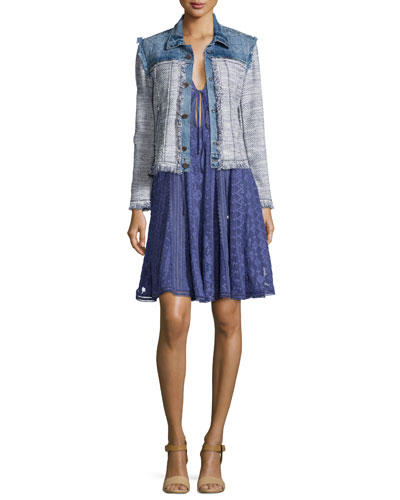 Frayed Tweed/Denim Combo Jacket, Blue