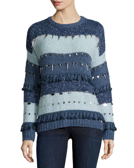 Banjo and MatildaTrinket Embellished Stripe Sweater, Mixed Blues
