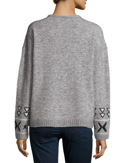 Fluffy Tribal-Print Sweater, Gray