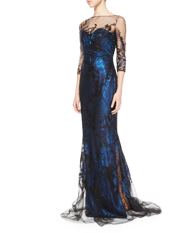 Rene Ruiz 3/4-Sleeve Illusion Lace Gown | Neiman Marcus