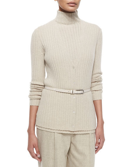 Lafayette 148 New York Ribbed Cashmere V-Neck Cardigan