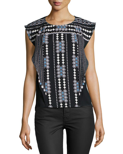 Maye Tribal-Print Top, Black Combo
