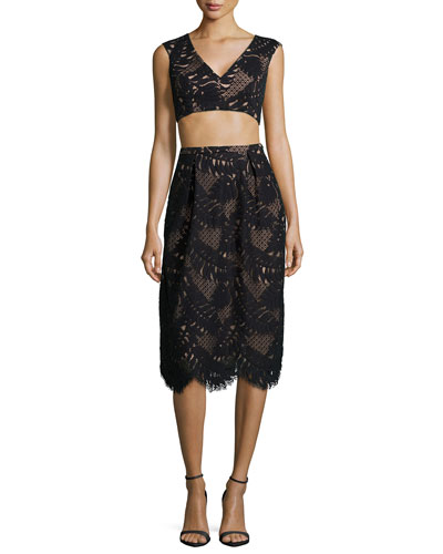 Scalloped Cutout Crop Top & Skirt Two-Piece Set, Black