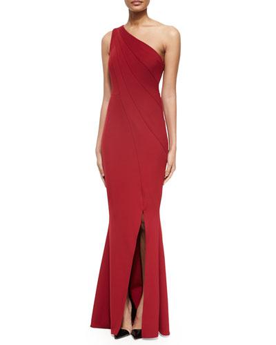 Peyton Asymmetric Contour Gown, Oxblood