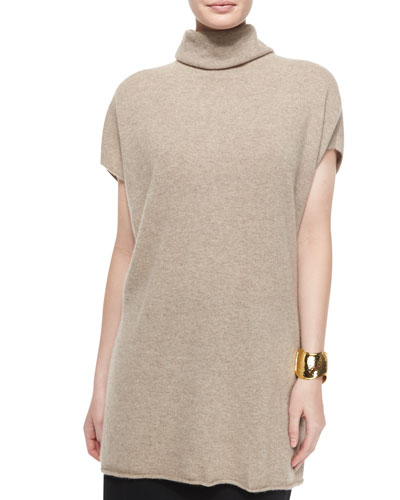 Short-Sleeve Cashmere Turtleneck Sweater, Women