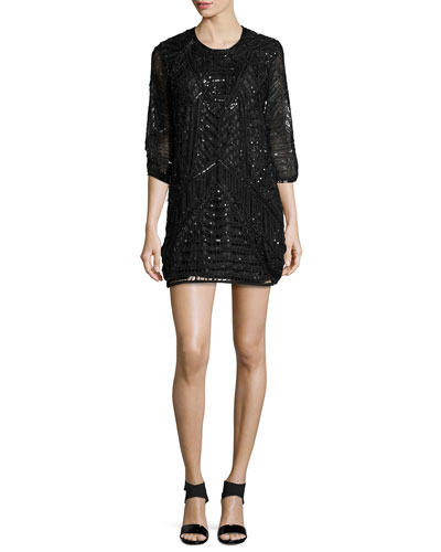 Petra 3/4-Sleeve Sequined Cocktail Dress