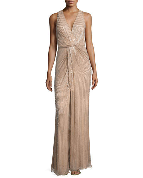Parker Monarch Sleeveless V-Neck Sequined Gown | Neiman Marcus