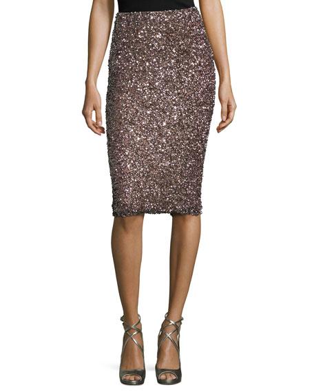 Parker Black Cascade Sequin Pencil Skirt, Mauve