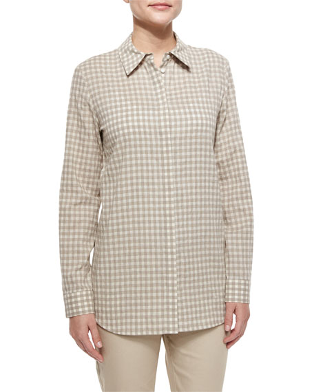 Lafayette 148 New York Brody Checkered Blouse, Khaki