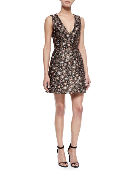 Alice + Olivia Pacey Sleeveless Structured A-Line Dress,