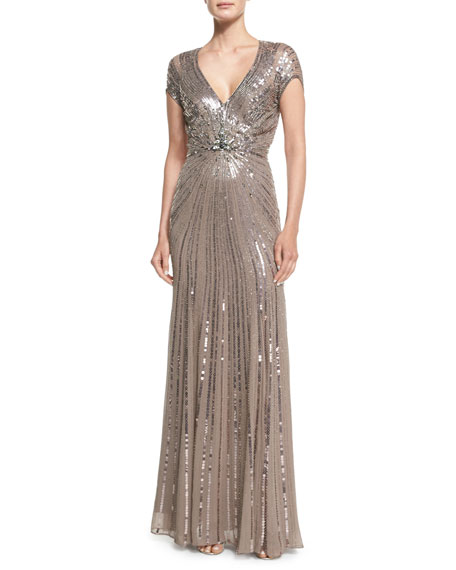 Jenny Packham Sunburst Sequined Chiffon Gown