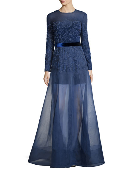 Jenny Packham Long-Sleeve Embellished Gown w/Organza Overlay