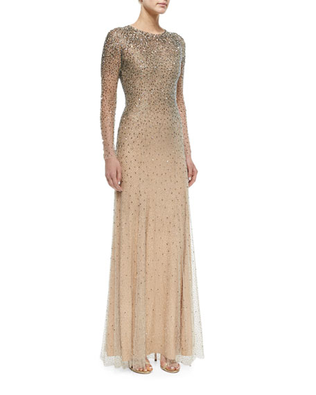 Jenny Packham Long-Sleeve Embellished Gown, Silver