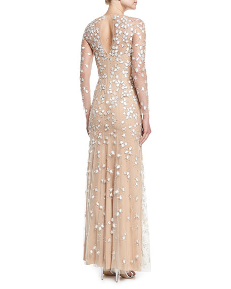 Jewel-Embroidered Tulle Illusion Gown