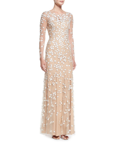 Jenny Packham Jewel-Embroidered Tulle Illusion Gown