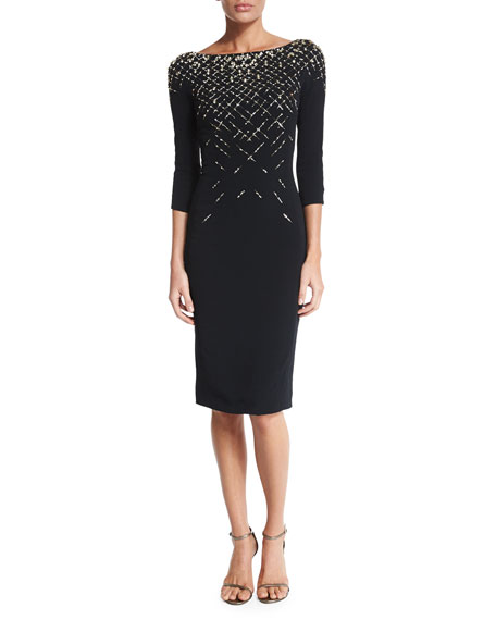 Jenny Packham 3/4-Sleeve Embellished Cocktail Dress, Black