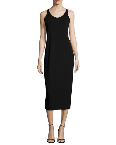 Sleeveless Jersey Long Dress, Black, Petite