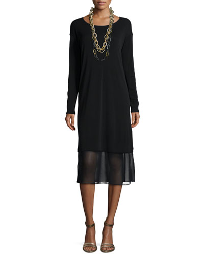 Long-Sleeve Knee-Length Dress W/ Chiffon Hem, Petite