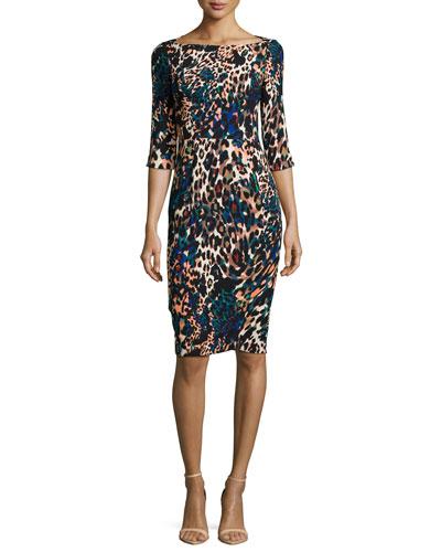 Three-Quarter Sleeve Sheath Dress, Multi Colors