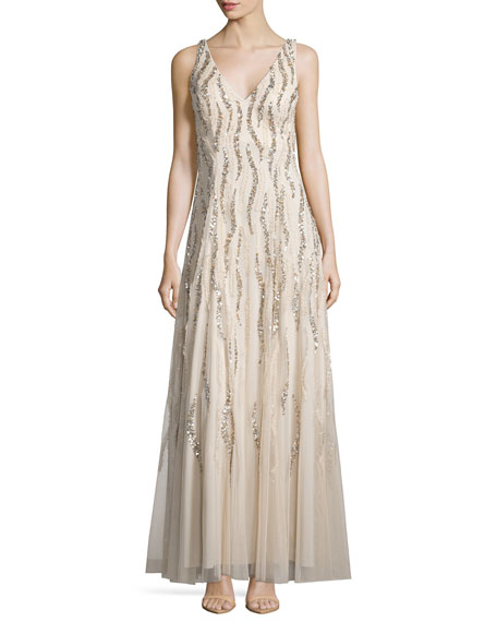 Aidan Mattox Sleeveless V-Neck Sequined & Beaded Godet Gown