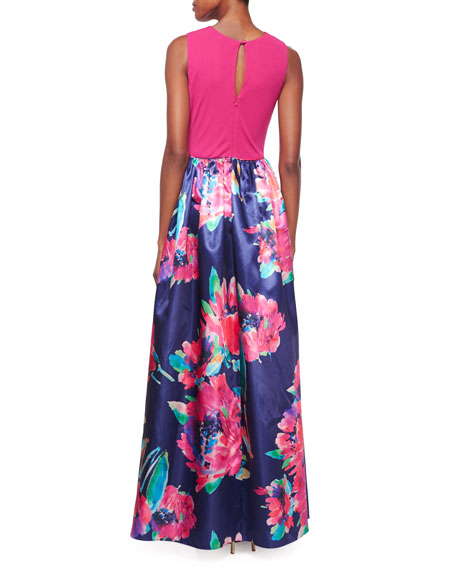Sleeveless Combo Floral-Print Gown, Navy Multi