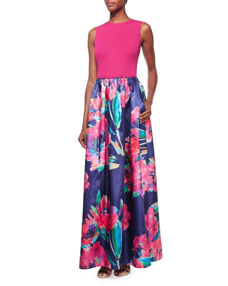 Aidan MattoxSleeveless Combo Floral-Print Gown, Navy Multi