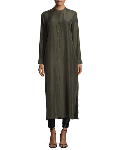 Fisher Project Long Silk Button-Front Dress