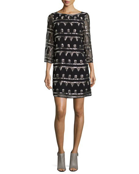 Alice + Olivia Riska Shimmery Embroidered Chiffon Dress
