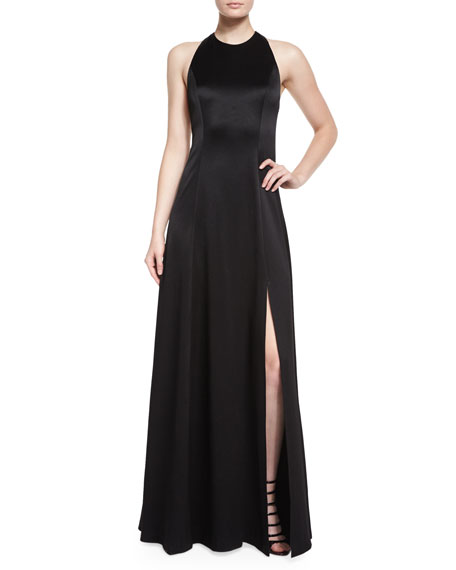 Alice + Olivia Wen Leather-Trim Satin Gown, Black