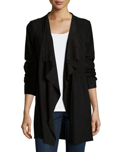 Fisher Project Draped Suede Jacket, Black
