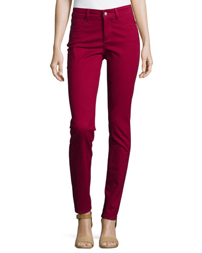 Samantha Peached Sateen Slim Jeans, Claret