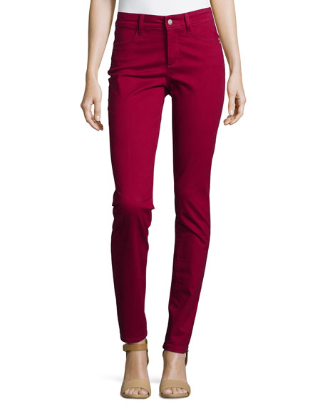 NYDJ Samantha Peached Sateen Slim Jeans, Claret