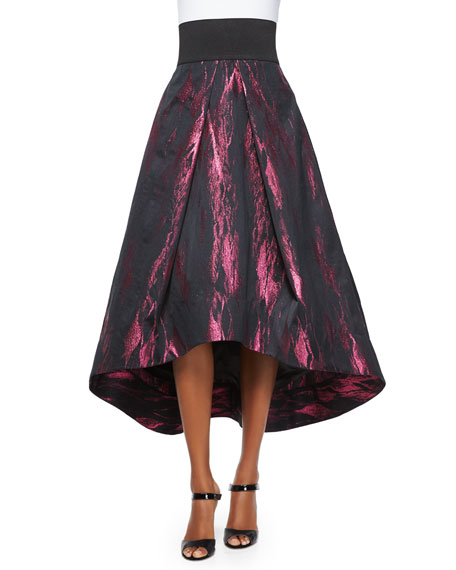 High-Low Tucked Ball Skirt, Fuchsia