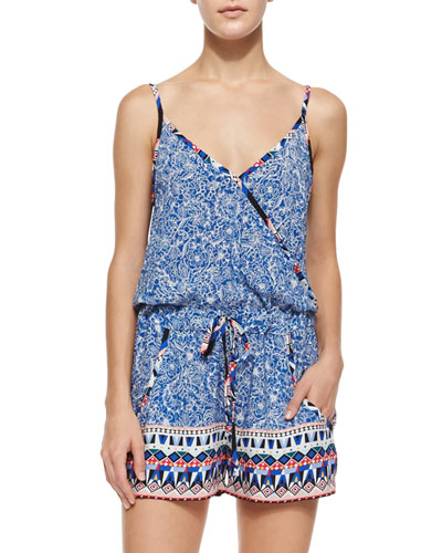 Bali Batik Multipattern Romper, Electric Blue/Multicolor