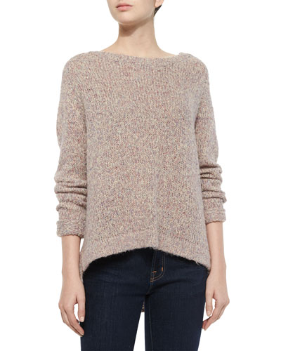 Pastel Marl Button-Back Sweater, Tan