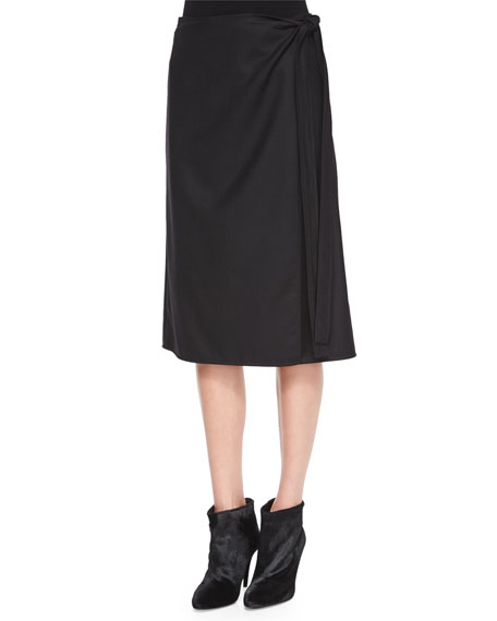 Theory Anning Side-Tie Stretch-Wool Skirt