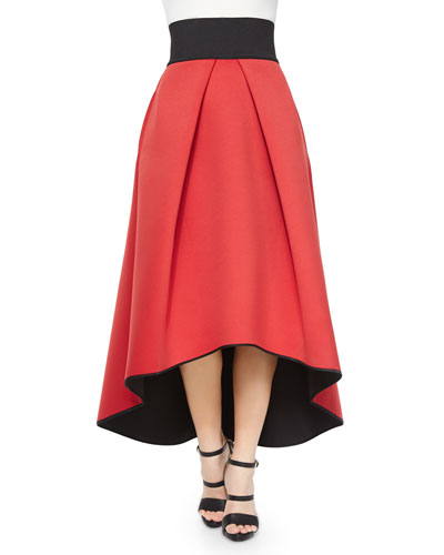 High-Low Tucked Ball Skirt, Red