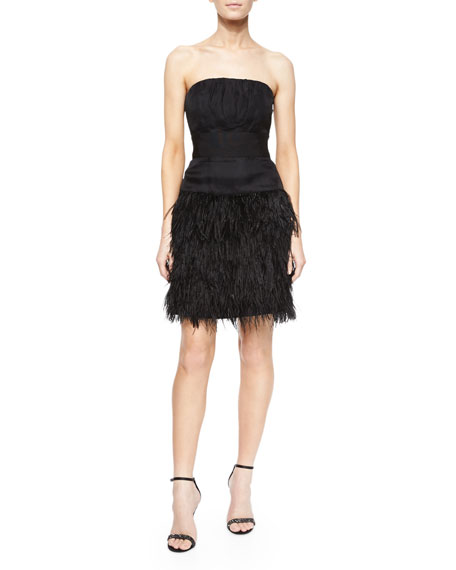 Milly Strapless Feather-Skirt Cocktail Dress