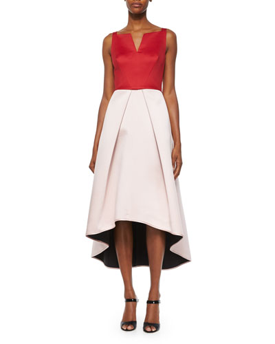Sleeveless Colorblock High-Low Dress
