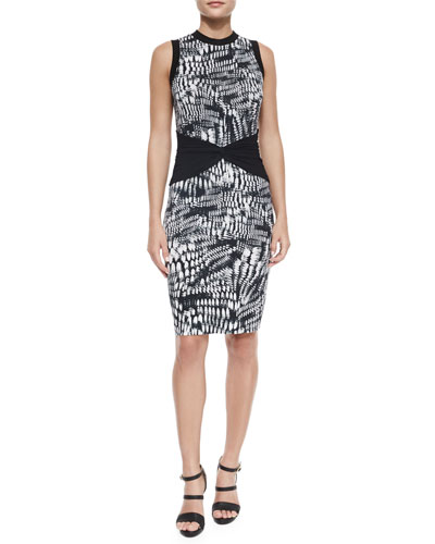 Sleeveless Graphic Sheath Dress w/ Contrast, Black/White