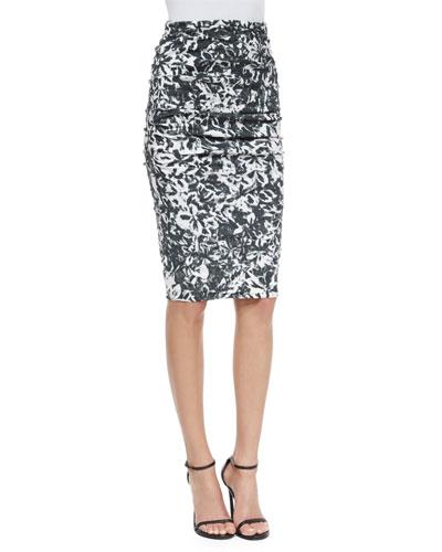 Floral-Print Pencil Skirt, Black/White