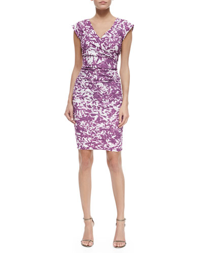 Becket Ruched Floral Dress, Deep Fuchsia